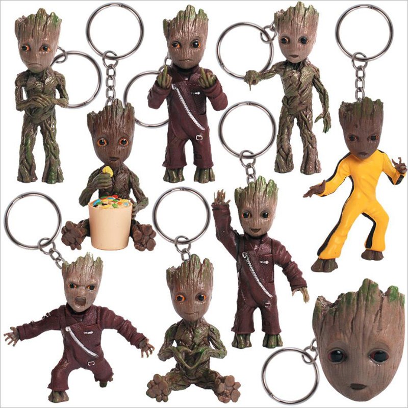 9 styles 7.5cm baby grootted Guardians Of Galaxy Vol 2 Man Action Figuras Brinquedos Keychain Key Bag Pendants Marvel Toys guardians team up vol 2