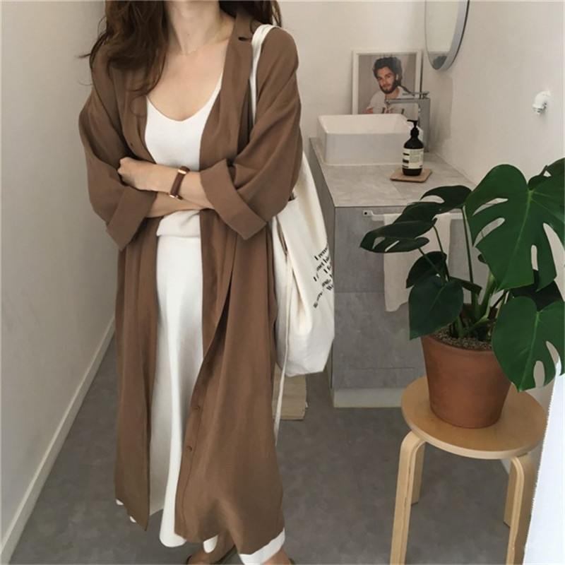 2018 Women's Spring Summer Solid Casual Coat Work Loose   Trench   Turn Down Collar Slim Female Single Breasted   Trench