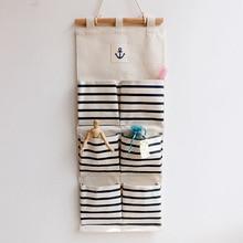 cotton fabric wall pocket hanging bags bathroom storage bags stripe home decorating makeup organizer