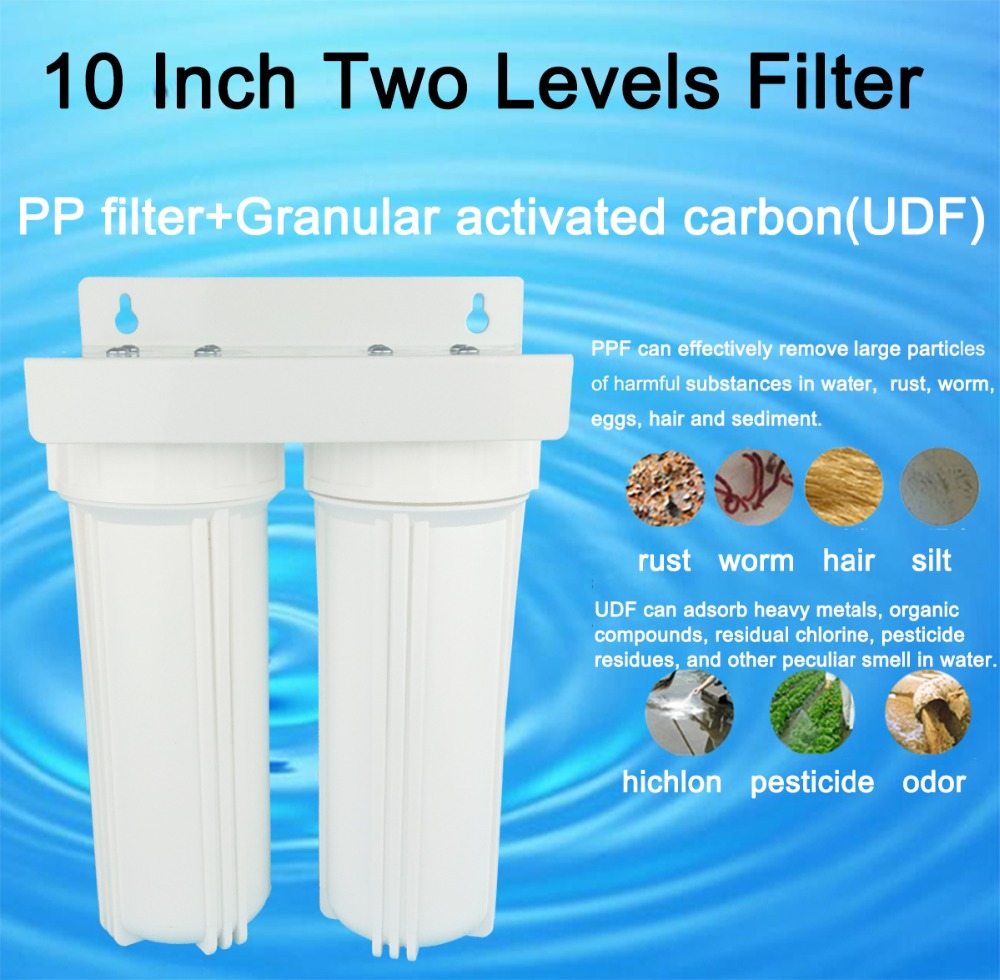 10 inch water Two Levers filter 1/2 interface tap water pipe purifier 2 stages household pre-filter with PPF+UDF white body household water filter tap connector adaptor push fit 3 4 inch bsp to 1 4 inch reverse osmosis ro white watering fitting pipe
