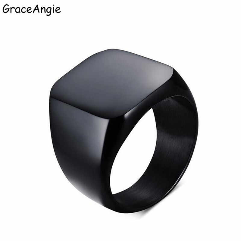 GraceAngie ジュエリーハイポリッシュシグネット固体ステンレス鋼リングチタン鋼バイカーリングメンズジュエリーカスタムリングギフト
