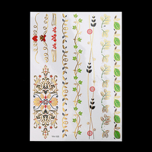 1pc Flash Sexy Products Metallic Waterproof Tattoo Gold YH-105 Flower Wrist Bracelet Choker Charm Temporary Tattoo Sticker Beach