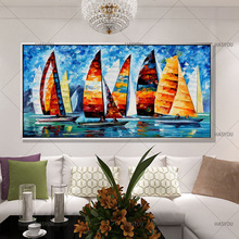 Fashion Modern Living Room Home Decorative Oil Painting Handpainted Large Long  Canvas Picture Ship Landscape Modern WALL ART Part 45