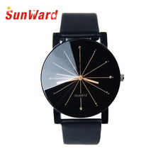 Relogio feminino  1PC Men Quartz Dial Clock Leather Wrist Watch Round Case for dropshipping 17May26
