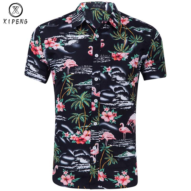 59cf5313d7c Flamingo Print Hawaiian Shirt Men 2019 Summer Brand Short Sleeve Mens Beach  Shirts Chemise Homme Casual