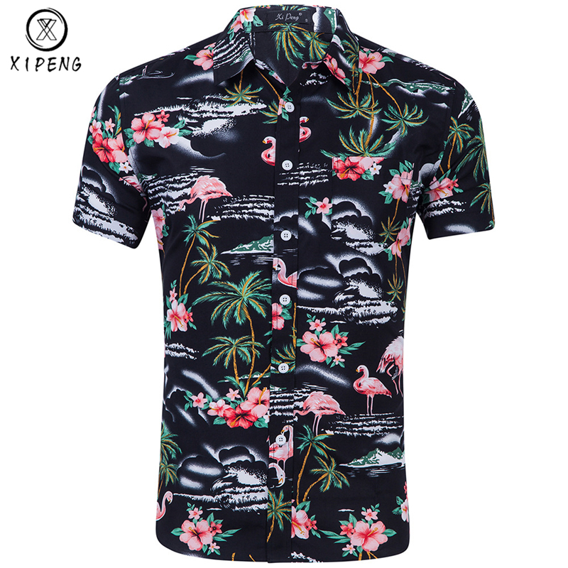 Flamingo Print Hawaiian Shirt Men 2019 Summer Brand Short Sleeve Mens Beach Shirts Chemise Homme Casual Slim Mens Dress Shirt