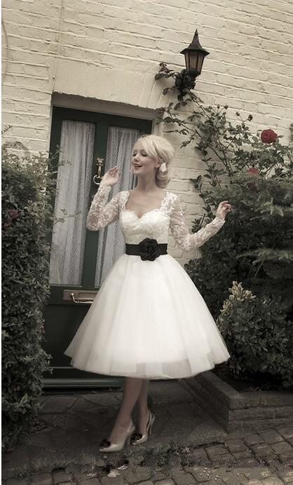 Vintage Style Long Sleeve Flower Belt White and Black Tea Length Bridal Gown Custom Size robe de mariee bridesmaid dresses