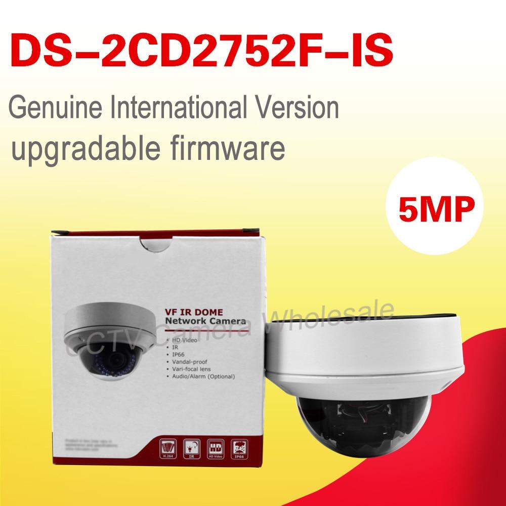 English version DS-2CD2752F-IS 5MP vandal-proof network dome cctv IP camera POE audio vari-focal lens 2.8-12mm H.264+ p2p english world level 5 audio cd 3 лицензия