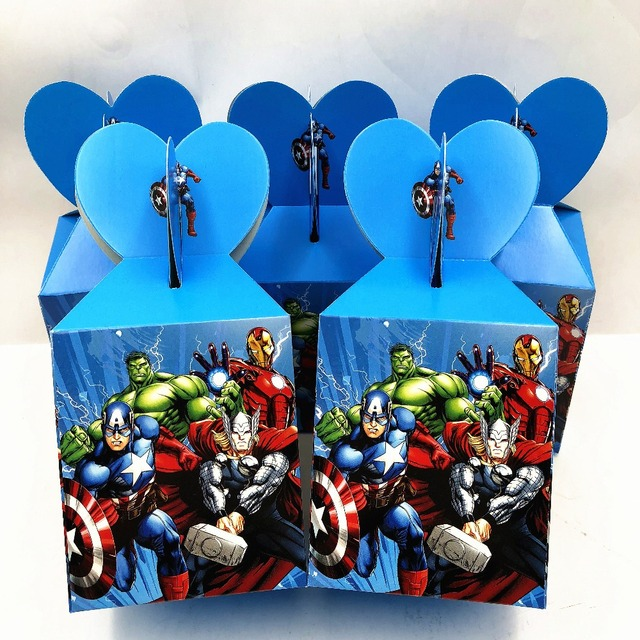 6pcs Avengers Ideas Favor Containers Baby Shower Christmas Decorations Hulk Birthday Supplies Personalized Party