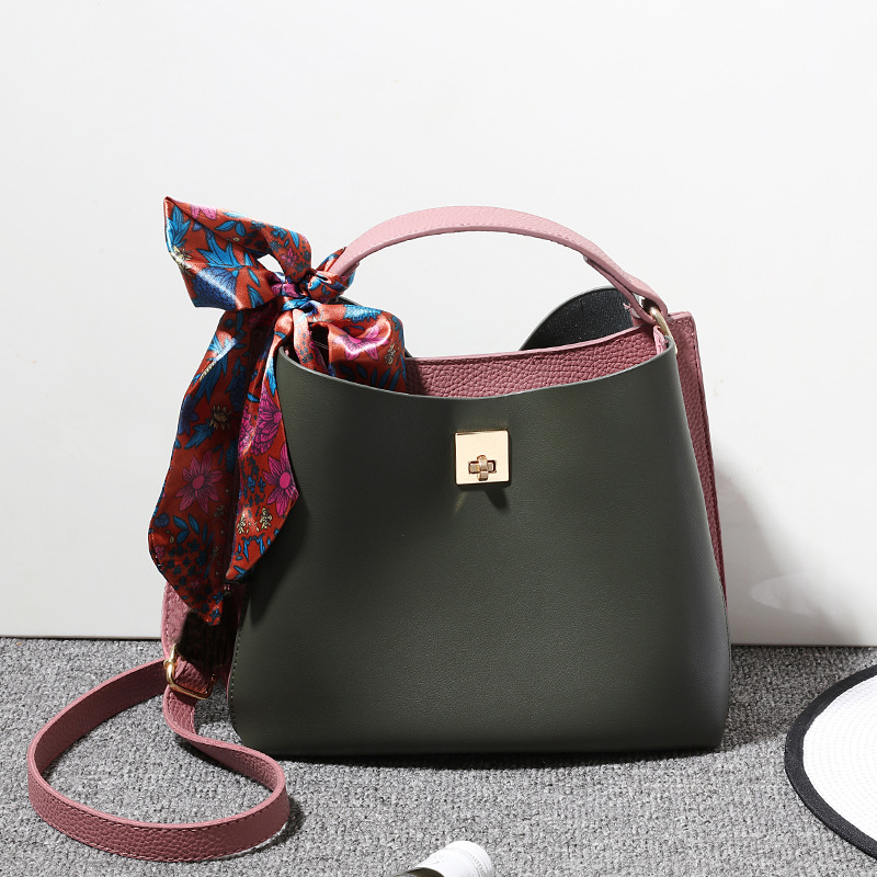 Bow Women Shoulder Bags Pu Leather Bucket Purses Casual Tote Handbags Female Crossbody Bolsa Feminina