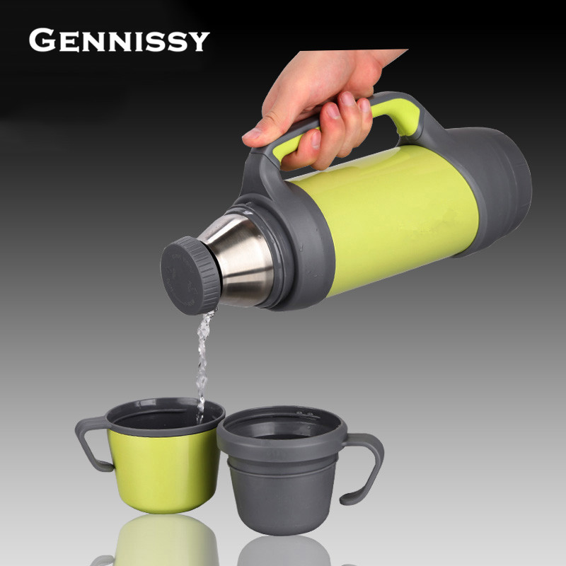 GENNISSY Stainless Steel Insulated Thermomug 1000ml 1200ml Thermo Vacuum Flask Thermoses Coffee Garrafa Termica Sport Thermos