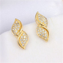 Stacked Leaf  Filled Stylish Stud Earring18K White Gold Earrings Plated Zircon Fashion Jewelry For Women Crystal Wedding Gift