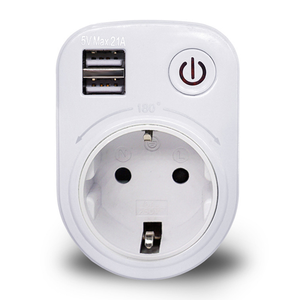 Dual USB Port 2.1A Wall Charger Power Adapter Travel Electrical Socket Switch and AC Outlet EU/US/UK Plug qiachip 2017 high speed usb wall socket us plug dual usb port charger usb wall outlet resistant ac socket remote control switch