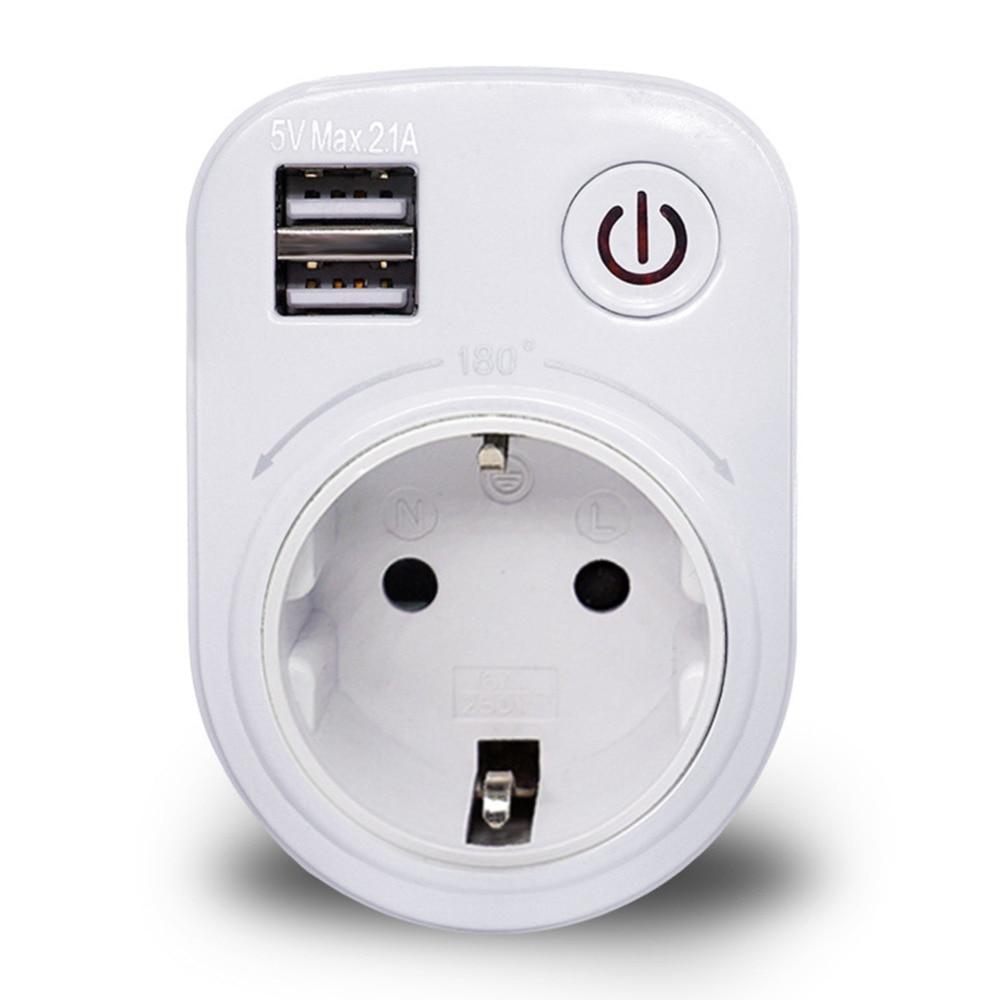 купить Dual USB Port 2.1A Wall Charger Power Adapter Travel Electrical Socket Switch and AC Outlet EU/US/UK Plug по цене 512.7 рублей