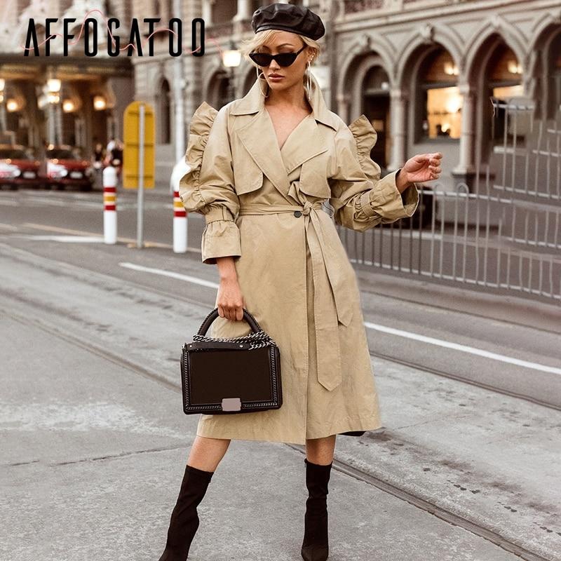 Outwear Capa gray Gabardina Femenina 2018 De Ruffle Otoño Affogatoo Cuello Blue Algodón Las V Alta Cintura Manga Larga Del Kahaki Elegante Caqui Sash Mujeres w4nxARvq