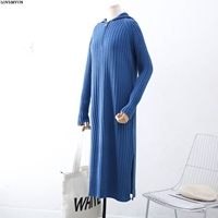 Zip Front Hooded Vintage Knitted Sweater Dress Women 2018 Autumn Winter Dress Long Sleeve Loose Long Dress pull femme