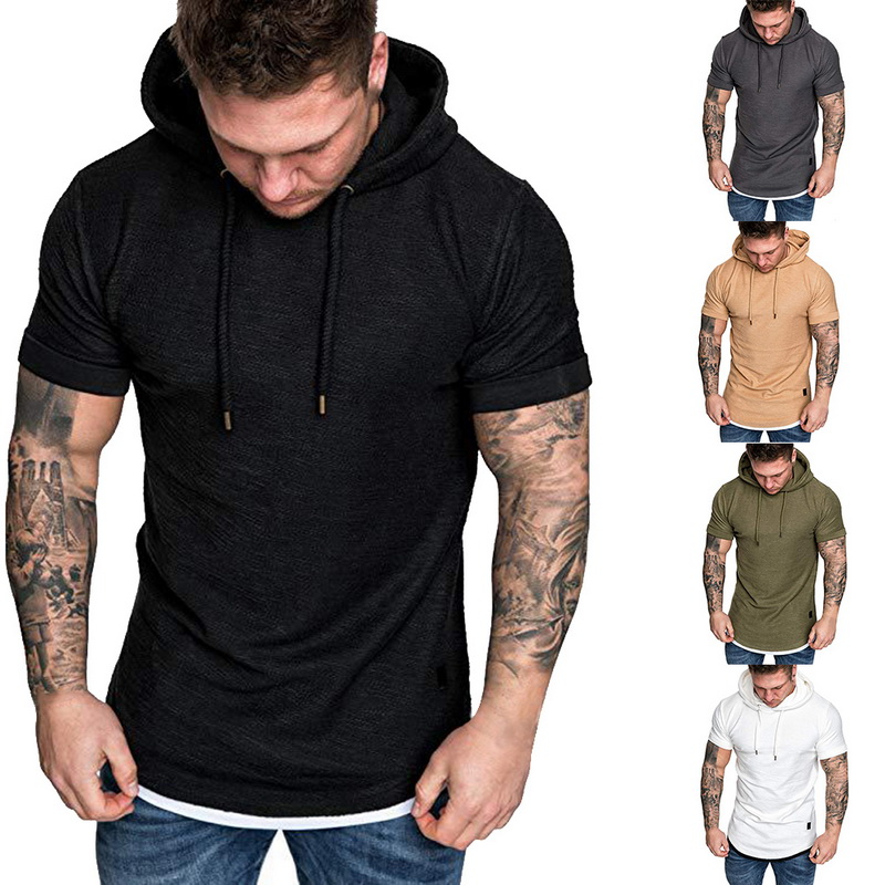 HTB1la4QRpYqK1RjSZLeq6zXppXav Laamei Men's T Shirt 2019 Summer Slim Fitness Hooded Short Sleeved Tees Male Camisa Masculina T Shirt Slim Tshirt Homme 3XL