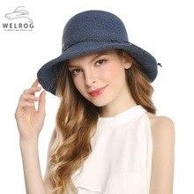 WELROG Elegante Azul de Verão Chapéus Para Mulheres Chapéus De Palha Com  Arco mar Praia Chapéus Moda Cap Panamá Chapeau Femme da. f34d2e00dba