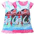 2 Цветов Новый Мультфильм Моана Принцесса 100% хлопок дети платья для девочек короткий рукав оборками ночной рубашке H600