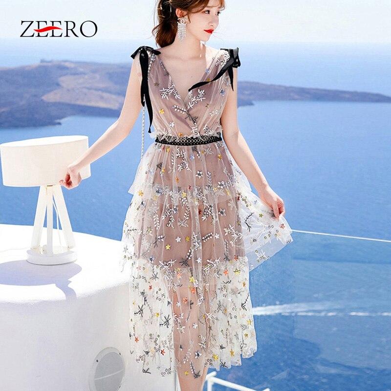 Self Portrait Dress New Mesh Star Sequin Embroidery Flower Women Summer Dress Sleeveless Lace Sweet Sexy