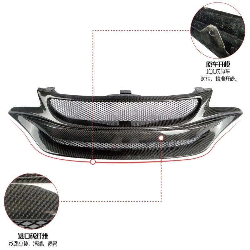 Car styling For Honda Jazz Fit GK5 14 17 Carbon Fiber BG Style Front Grill Fibre