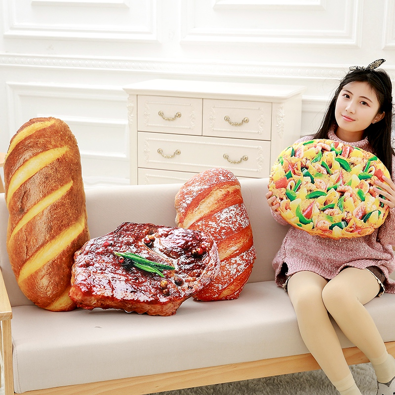 Creative Simulational Bread Plush Toy Steak Pizza Shape Pillow Novelty Food Cushion Gift For Kids 1pc 40cm creative plush toast bread pillow toy stuffed bread cushion funny toast bread pillow for pets birthday gift decoration