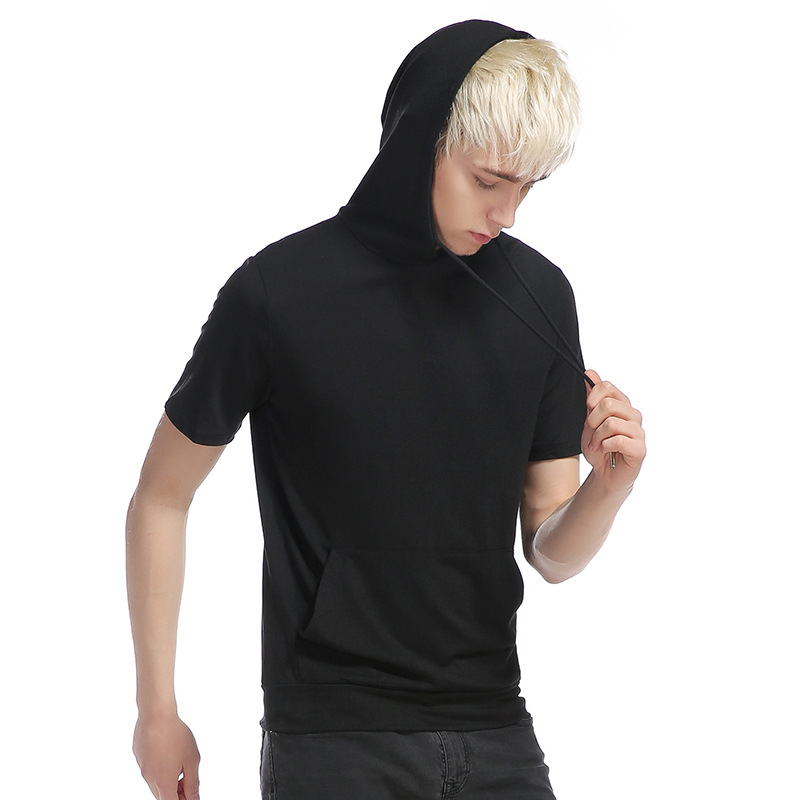 Crime mans summer men hooded large pockets tight leisure pure color big yards short sleeve T-shirt