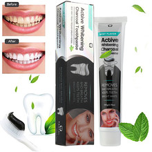 Active White Activated Charcoal Teeth Whitening Toothpaste Natural Black Mint Flavor
