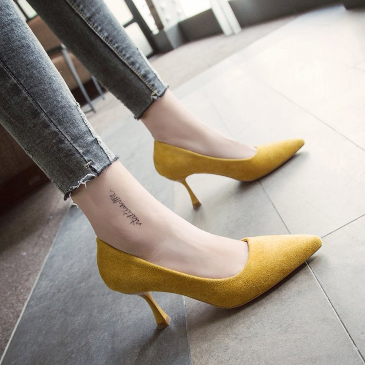 2018 New Pointed Sexy Trend High Heels Comfortable Nude Suede Stiletto Shoes Black Fashion Wild Work Shoes