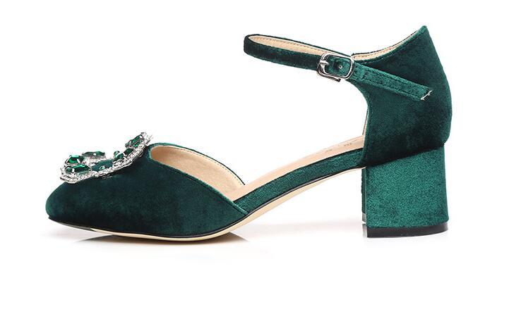 a2e012048c1e3b Sandales Cristal Talons Boucle Fermé Green A094 Orteil Carré À Mode Dames  Confortable Sangle De Femmes D'été Hauts Élégant Xgravité Chaussures ...