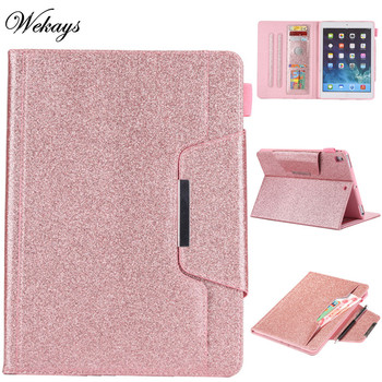 Wekays For Apple Ipad Air2 Ipad 6 Glitter Bling Leather Fundas Case For Coque IPad Air 2 IPad 6th IPad6 9.7 Tablet Cover Cases wekays for apple ipad mini 4 cute cartoon unicorn leather fundas case sfor coque ipad mini 4 tablet cover cases for ipad mini4