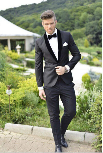 2017 two pieces custom made new arrival custom made groom tuxedos trim fit gray man suits