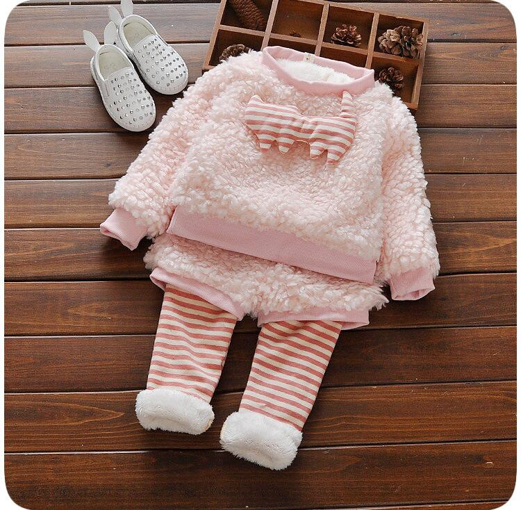 ФОТО Children's clothes girls winter suit girl add wool two-piece at the age of thickening clothes