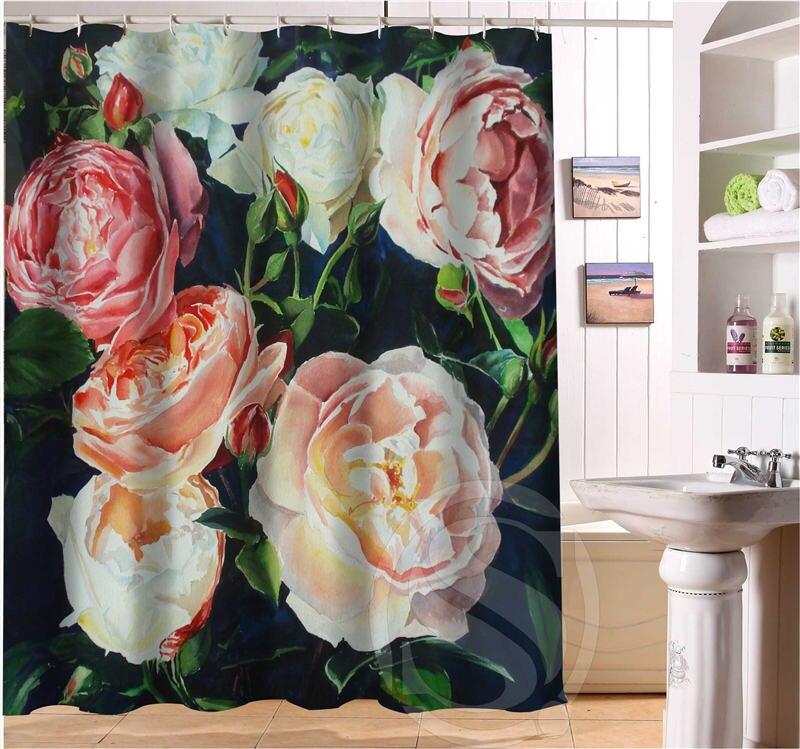 Aliexpress.com : ShunQian Romantische Schöne Rosen Muster  Benutzerdefinierte Duschvorhang Bad Vorhang Wasserdicht Umweltfreundliche  Duschvorhang Von ...