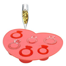 New Arrival Amusing Creative Ring Shape Ice Maker Mould  Love Ring Ice Tray Cartoon Diamond Ice Cube Style BS