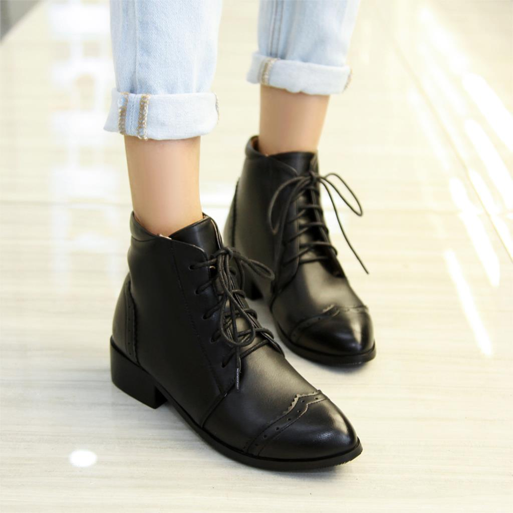 Aliexpress.com : Buy Fashion Women Boots Ankle Boots Lace up Hoof ...