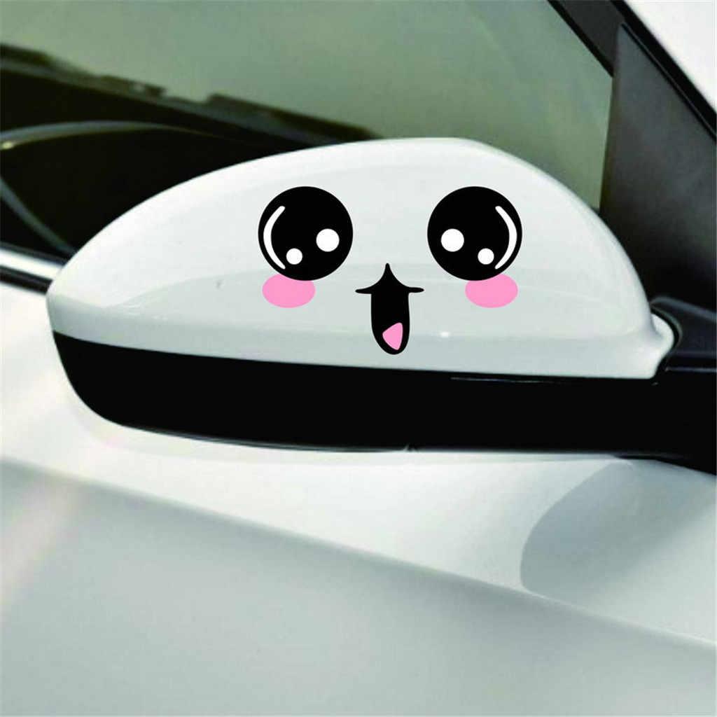 1 زوج لطيف مبتسم الوجه ملصق سيارة مرآة الرؤية الخلفية ملصقا التعبيرات صائق 12*7 سنتيمتر