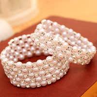 Pulseras de varias capas de perlas de imitación de cristal trenzado de lujo para mujeres pulseras de boda y colgantes pulseras joyería de Mujer