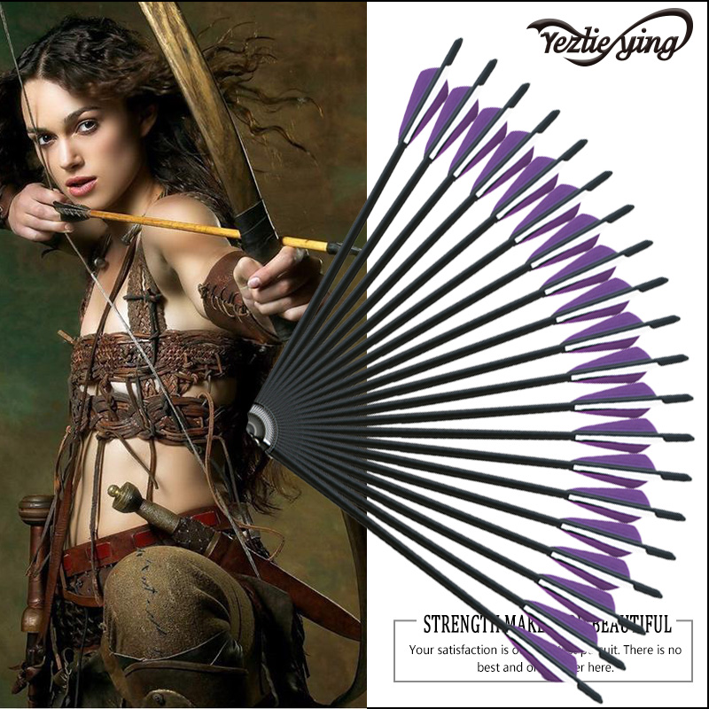 24pcs Crossbow Carbon Arrow 16 17 18 20 22 Inch Replaceable Arrows Purple And White Leaves