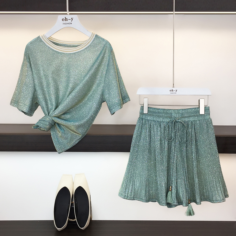 HAMALIEL Sweet Summer Two Piece Set Fashion Women Green Bling Short Sleeve Loose T-Shirt Top Suits + Pleated Wide-Leg Shorts Set
