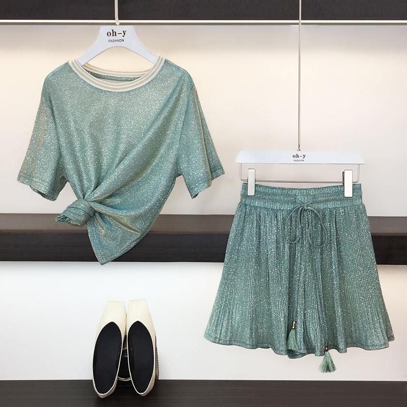 HAMALIEL Sweet Summer Two Piece Set Fashion Women Green Bling Short Sleeve Loose T-Shirt Top Suits + Pleated Wide-Leg Shorts Set