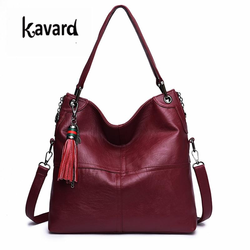 kavard Tassel Women Luxury Handbags Designer Shoulder Bag High Quality black Leather Bags Women Ladies Hand Bag Tote Sac 2018