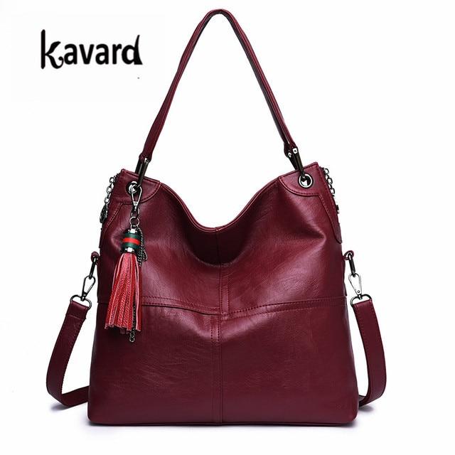 kavard Tassel Women Luxury Handbags Designer Shoulder Bag High Quality black  Leather Bags Women Ladies Hand Bag Tote Sac 2018 52fc95062f