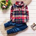 2017 Весна Детская Одежда Набор Мальчик Одежда Наборы детская Мода Плед Костюм Мальчики Одежда Детские Наборы