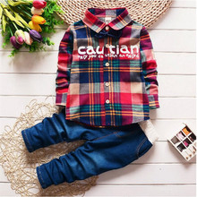 hot deal buy 2016 spring kids clothing set boy warm clothing sets children's fashion plaid suit boys clothes baby kids sets