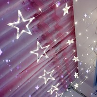 138PCS LED Curtain Star String Lights AC 220V EU Plug Romantic Fairy Star LED Fairy Lights
