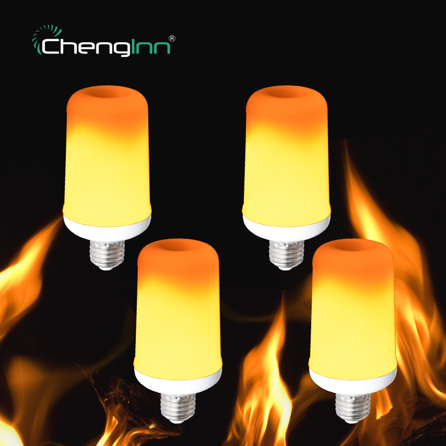 4-Pack Flame Effect Fire Light Bulb 7W E27 2835SMD Flickering Emulation Atmosphere LED Lamp Bulb For Decorative Party Corn Bulb