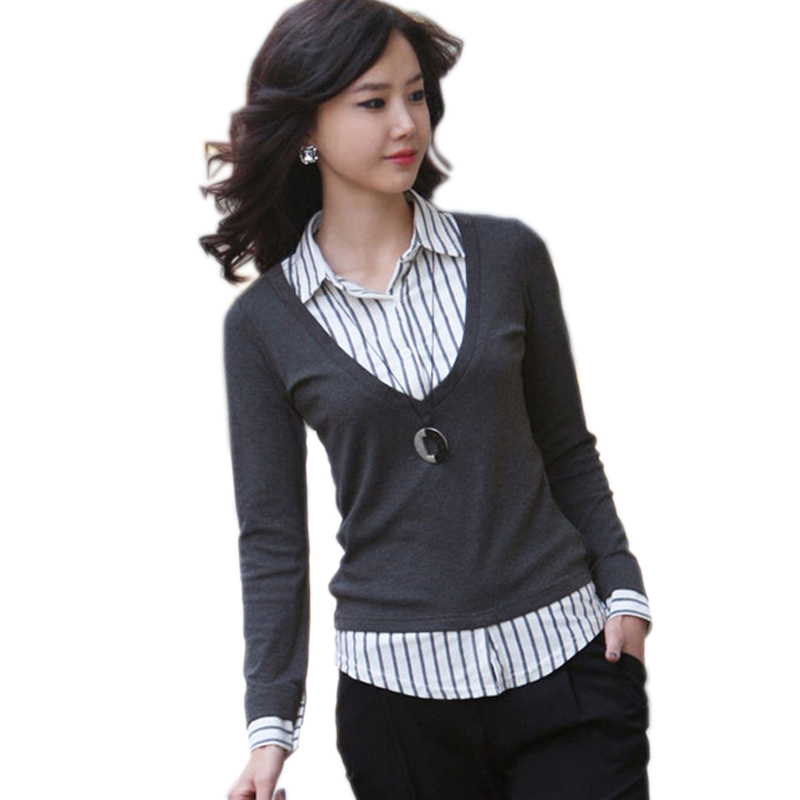 Camisas Blusas de mujeres 2019 algodón de manga larga