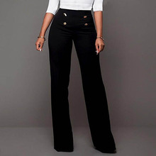 2019 Newly Hot Summer Women Pants High Waist Straight Wide Leg Solid Color Lady Trousers HD88
