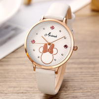 Disney brand ladies wristwatches Mickey mouse quartz waterproof woman watches genuine lea diamond women clocks Citizen movement
